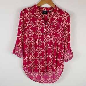 Anthro | Maeve pink print button down 4